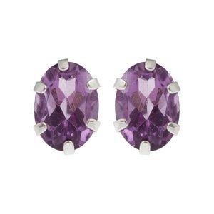 Silver Earrings Set with 7x5mm Genuine Gemstones